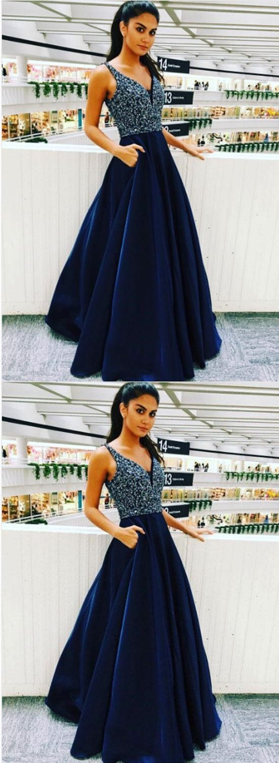Elegant V Neck Prom Dress With Beaded Long Homecoming Dress Navy