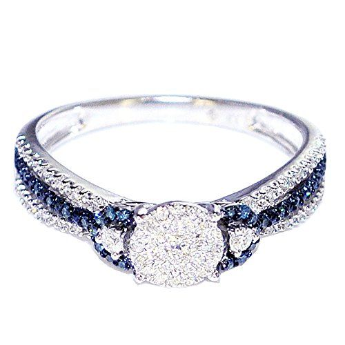 blue diamond white diamond engagement ring 10k white gold 025ct rings