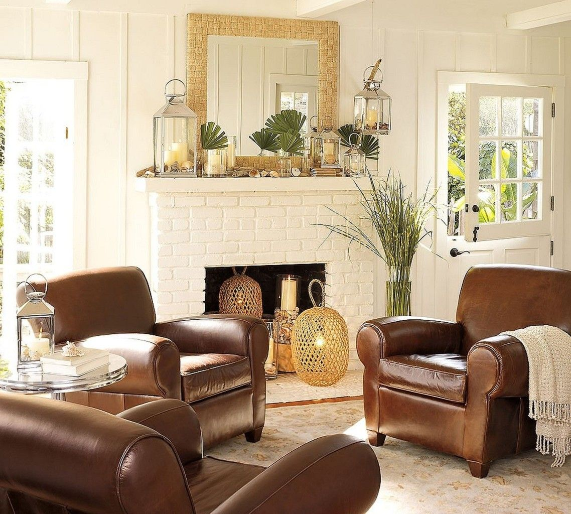 Classic Living Room With White Brick Fireplace And Brown Leather Sofa On  Cream Rug Combined With Gold Chandelier, Adorable Pottery Barn Living Rooms  Bring ...