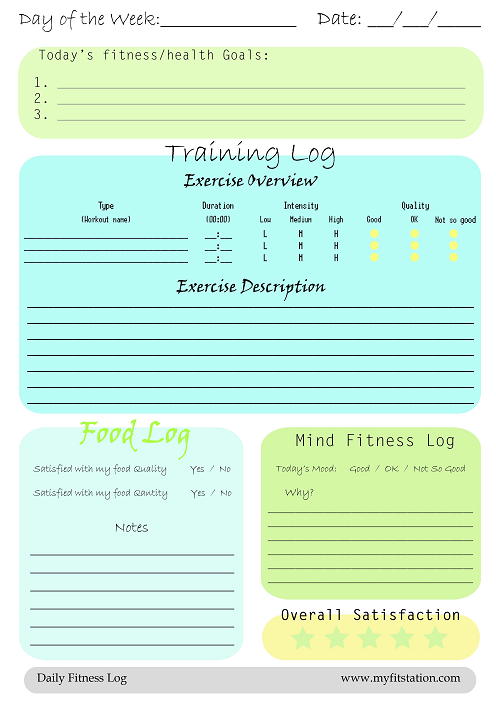 Superb Free Daily Printable Fitness Logs Photo Gallery