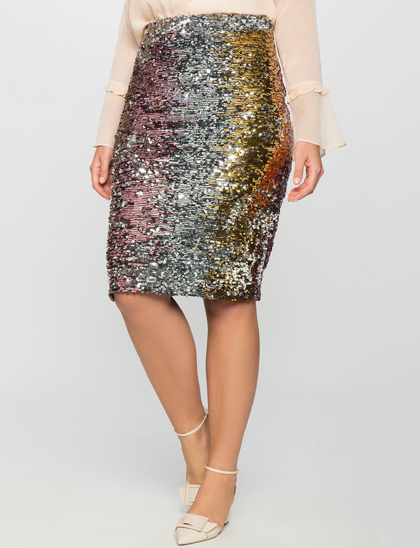 91c9371e981e Studio Variegated Sequin Pencil Skirt | Women's Plus Size Skirts ...