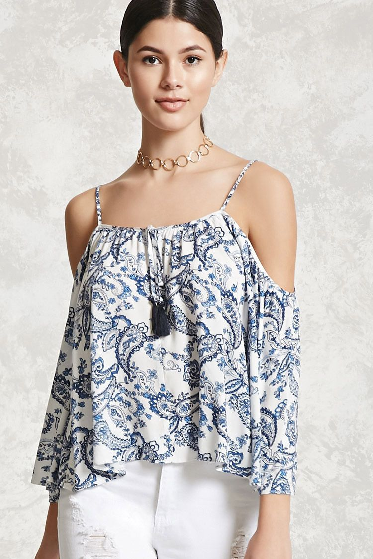 6569999e2523ab A woven open-shoulder top with adjustable cami straps