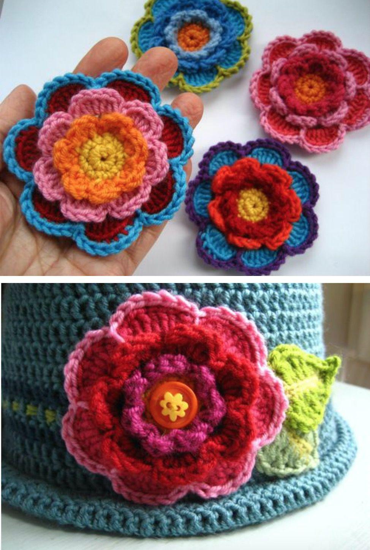 Triple Layer Flower Crochet Tutorial Watch The Video | Häkeln
