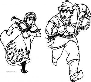 Karlar ülkesi Frozen Anna Ve Kristoff Koşuyor Boyama Sayfası Karlar