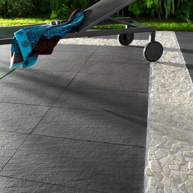Carrelage terrasse anthracite 30 x 60 cm lounge   castorama ...