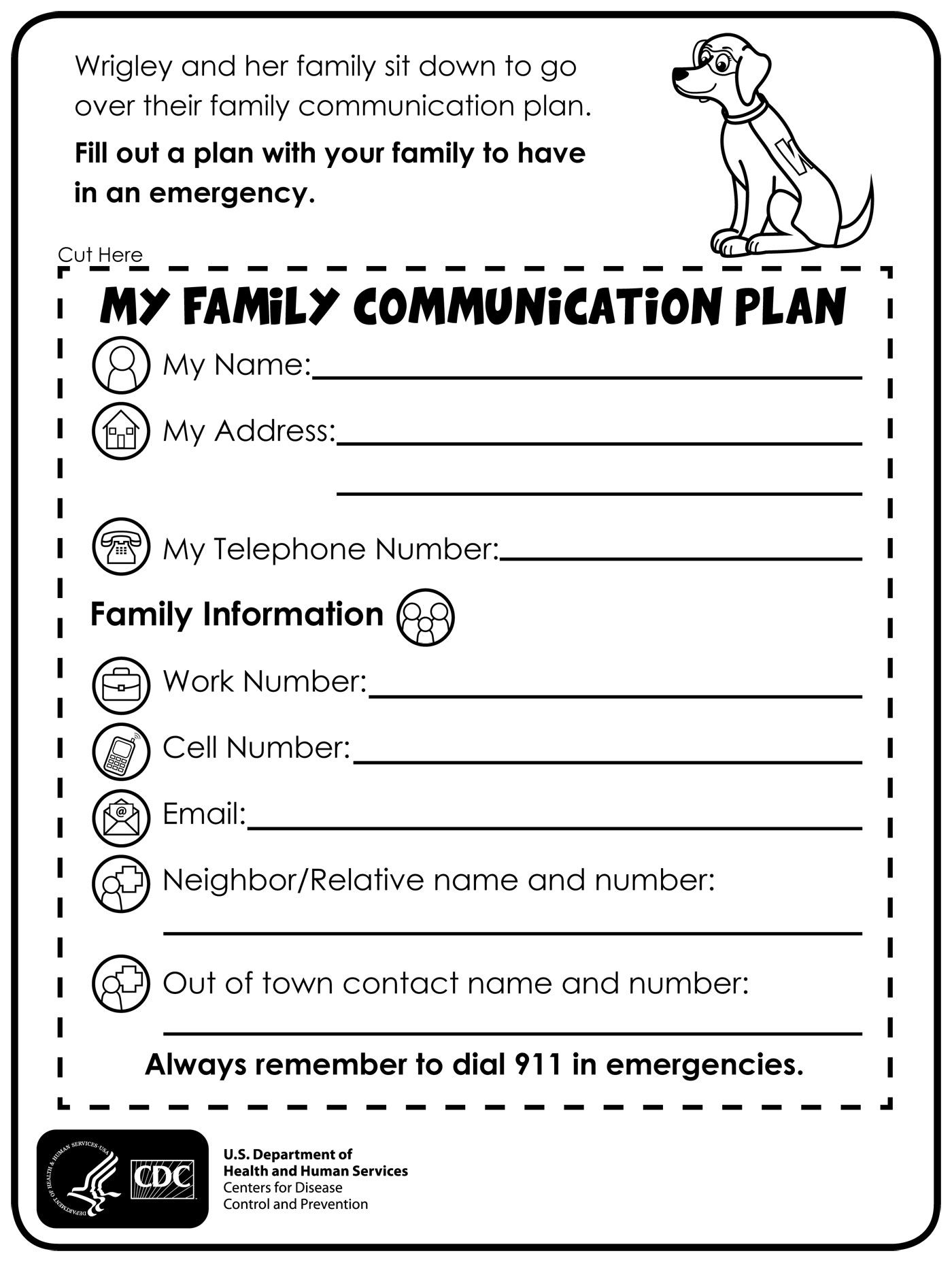 Fill Out A Plan With Your Family To Have In An Emergency