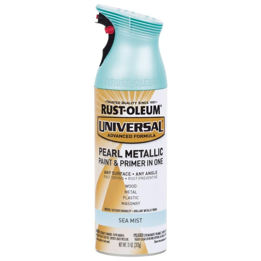Rust Oleum Universal 11 Oz Pearl Metallic Sea Mist Spray Paint And Primer In One Case Of 6 Pear Pink Spray Paint Spray Paint Furniture Metallic Spray Paint