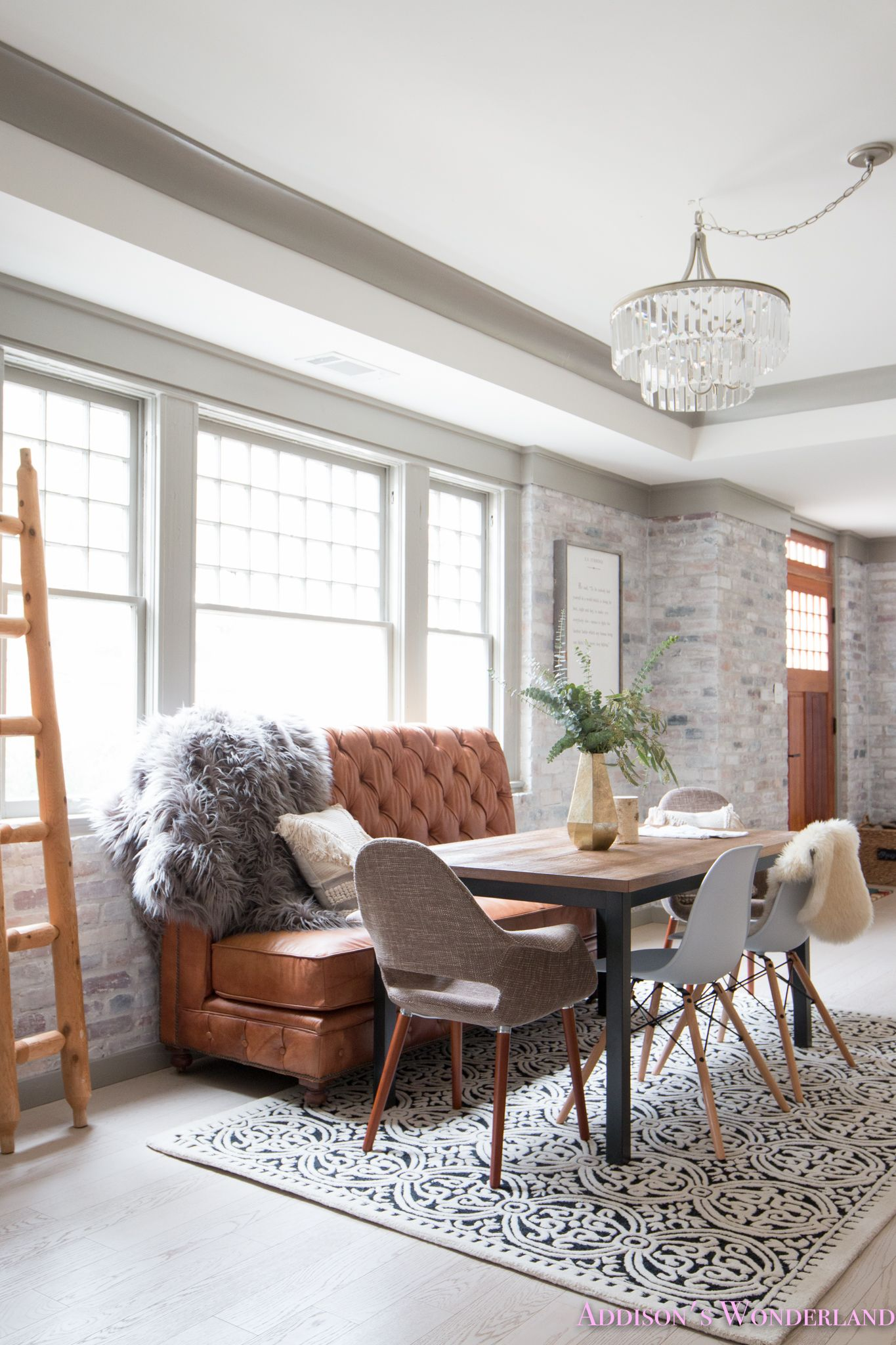 Our Whitewashed Brick Wall Basement Dining Entertaining Space Sharing The Reveal Of Our Brick Wall Living Room White Brick Wall Living Room Settee Dining