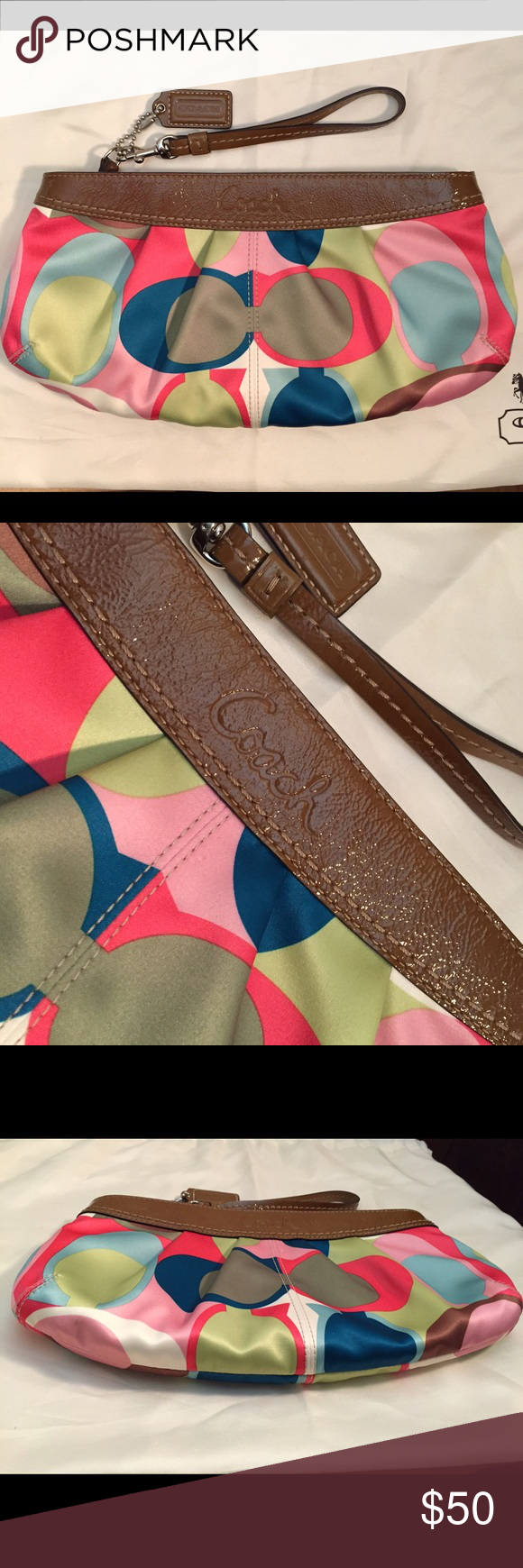 "Coach Soho Scarf Print Large Clutch/Wristlet Think spring with this bright and cheerful Coach clutch!  It has a removable wrist strap but provides much more room than your average wristlet.  The colorful Optic print is complimented by tan patent leather trim, and the inside has tan fabric with one zipper pocket and one small open pocket for accessories.  Used only once to go to a evening concert, this versatile bag is perfect for day or night!  The clutch is 12""W x 6""H x 1.75""D. Coach Bags…"