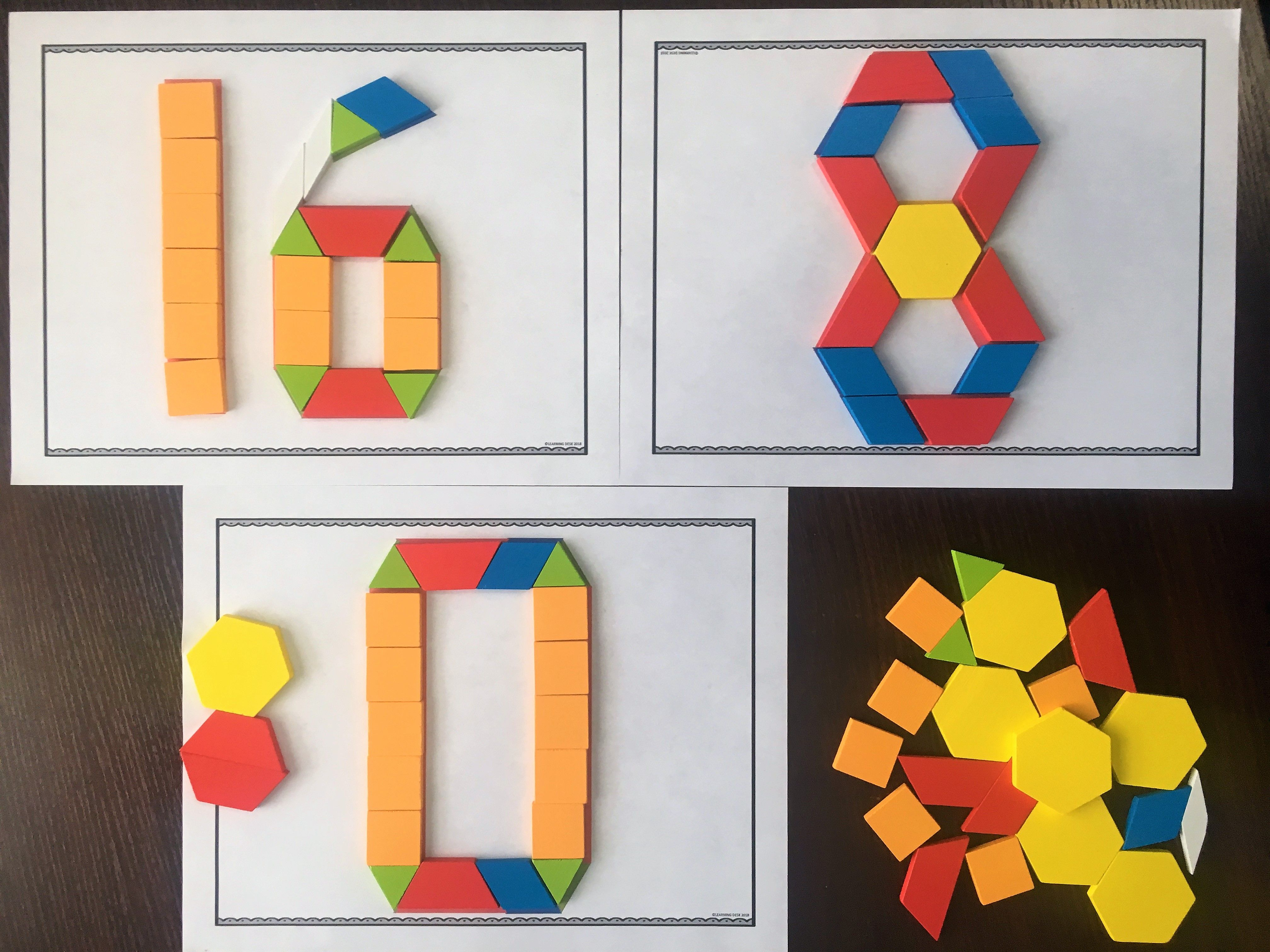 Pattern Block Numbers 0 to 20: Fun Math Center   Pattern blocks [ 3024 x 4032 Pixel ]