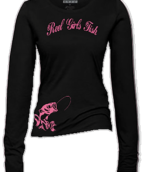 Reel girls fish black long sleeve t shirt reel girl fish t for Long sleeve fishing t shirts