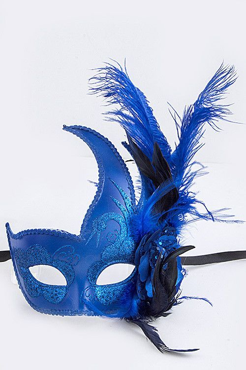 Royal Blue Swan Masquerade Mask