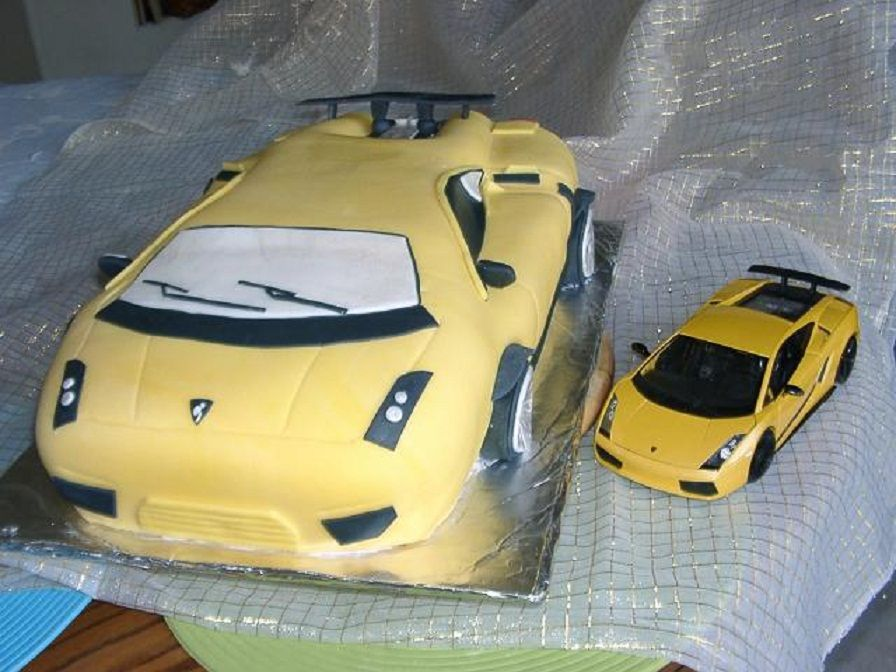 A Yellow Lamborghini Cake For A 10 Year Old Good Boy