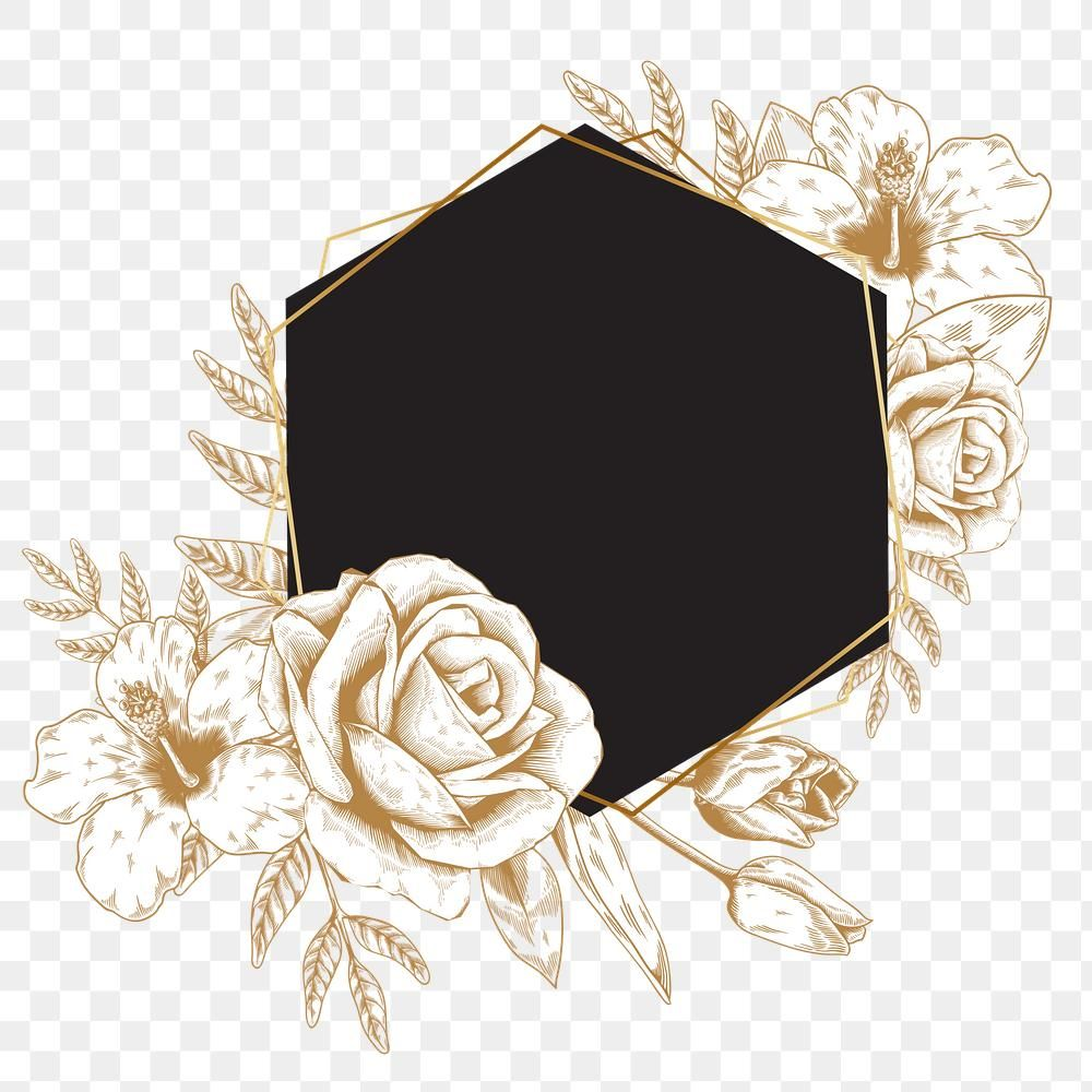 Download Premium Png Of Hexagon Gold Floral Frame Design Element 2406803 Design Element Frame Design Frame