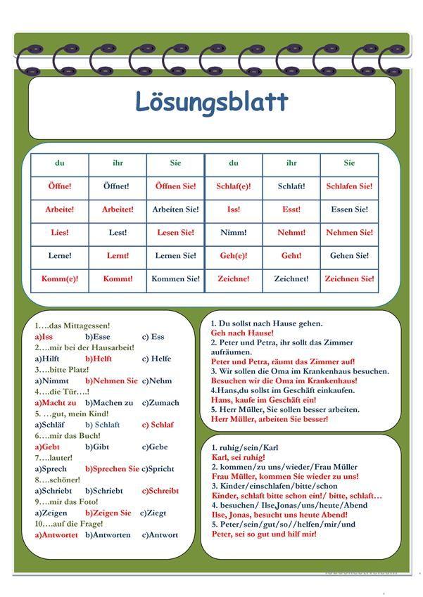 Imperativ   German and Worksheets