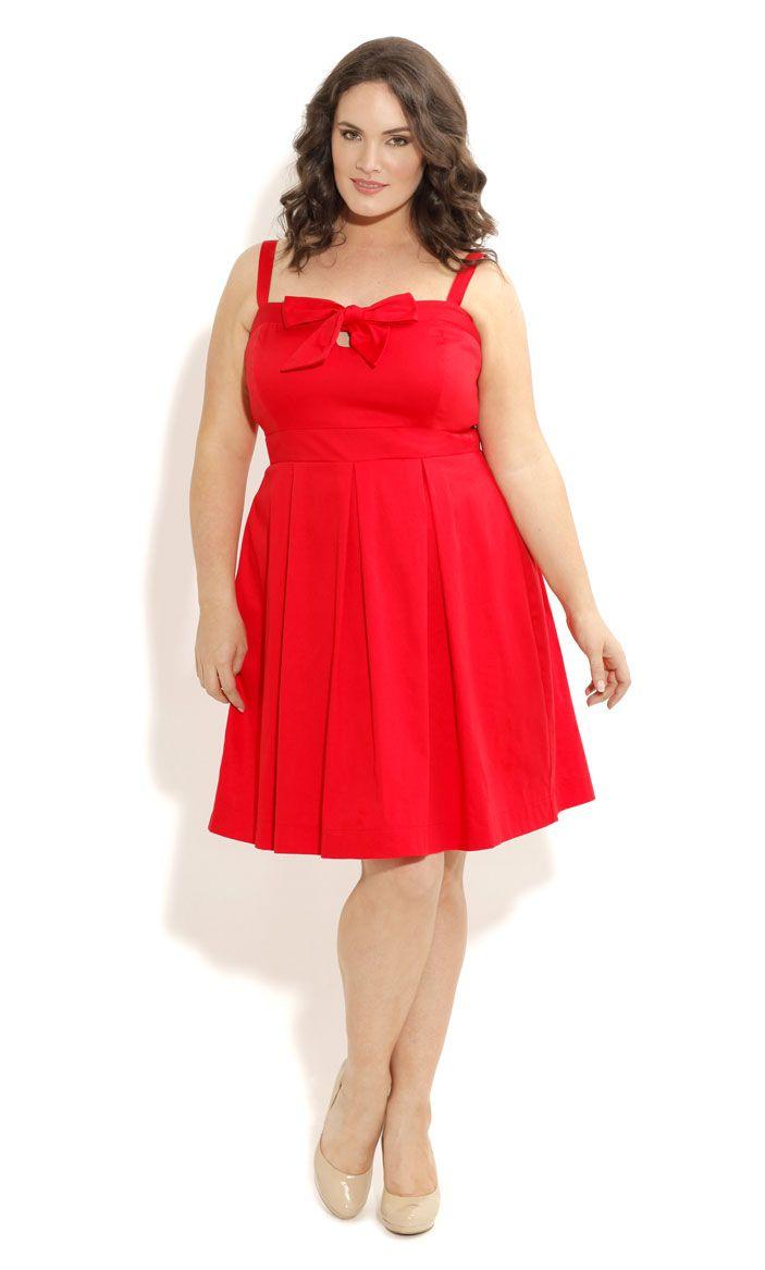 City Chic Cute Bow Bust Dress Womens Plus Size Fashion Plus