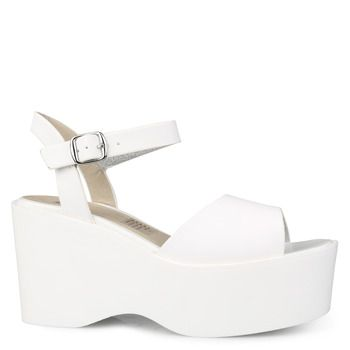 Shoe Connection - Lipstik - Drey white platform sandal with ankle strap.  $99.99 http: