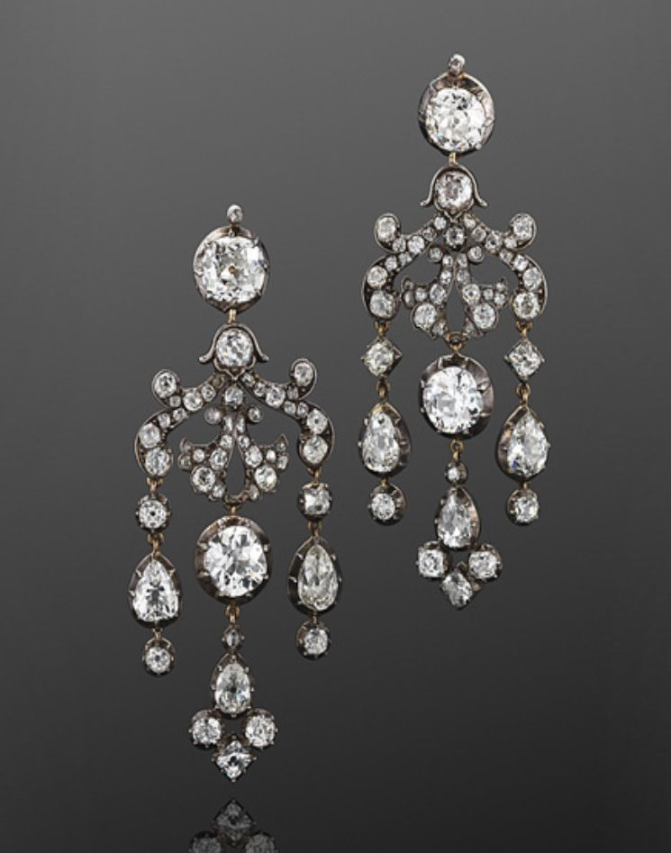 09d80ecf64f94 1800s Old Mine Diamond Chandelier Earrings | An intricate scrollwork ...