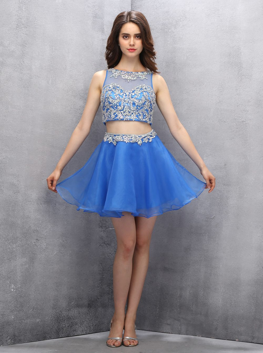 16d731247ec Two-piece Scoop Short Royal Blue Organza Open Back Homecoming Dress ...
