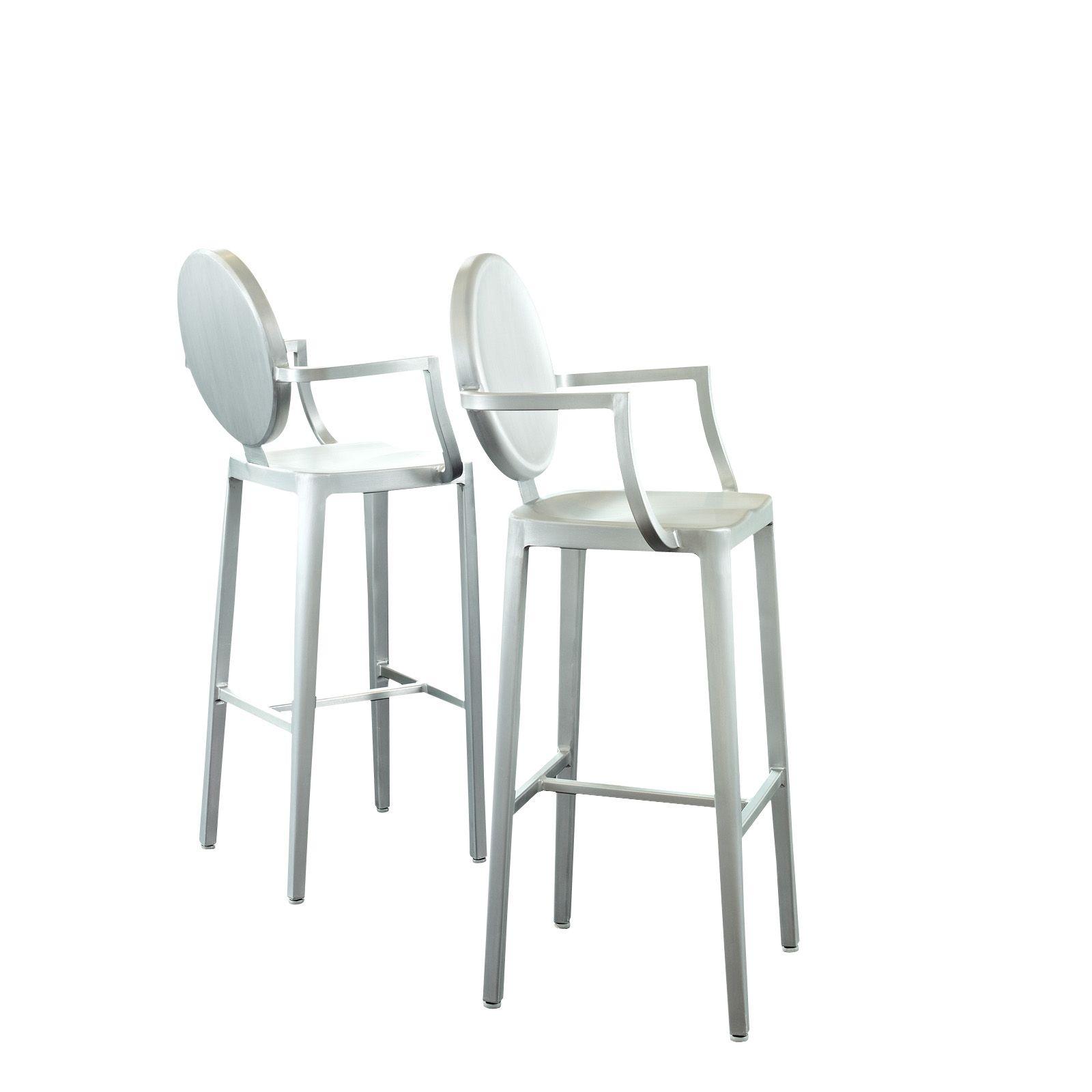Aluminum ghost bar stool set in silver eei 890 by lexmod for Kitchen set dari aluminium