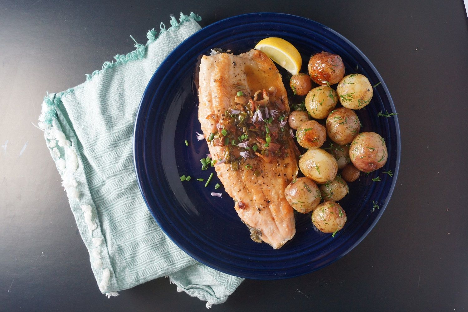 Rainbow Trout with Bacon and Chives + Grilled New Potatoes with Dill Butter | Wisconsin from Scratch