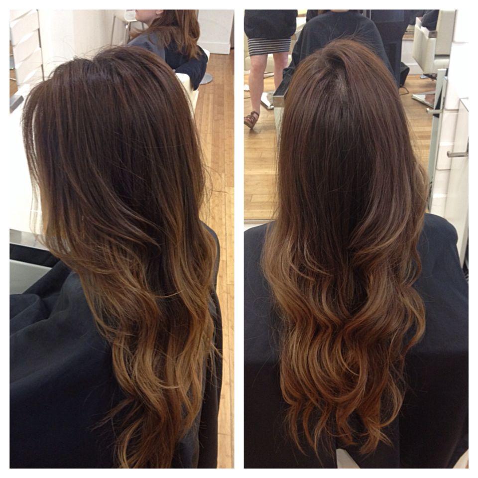 Soft Caramel Balayage Highlights In Long Hair Asian Hair Olaplex