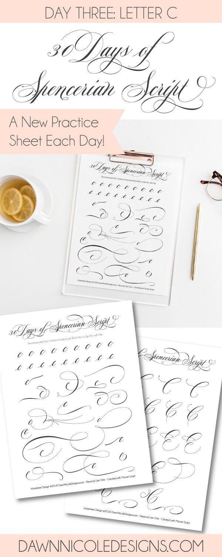 Spencerian Script Style Letter C Worksheets Worksheets Dawn
