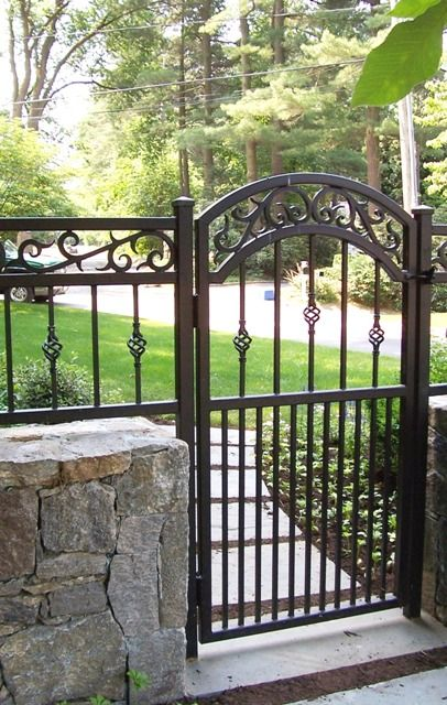 Decorative wrought iron walk gate fence