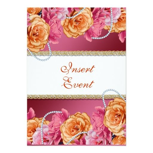 "Vintage rose pearl wedding engagement 5"" x 7"" invitation card"