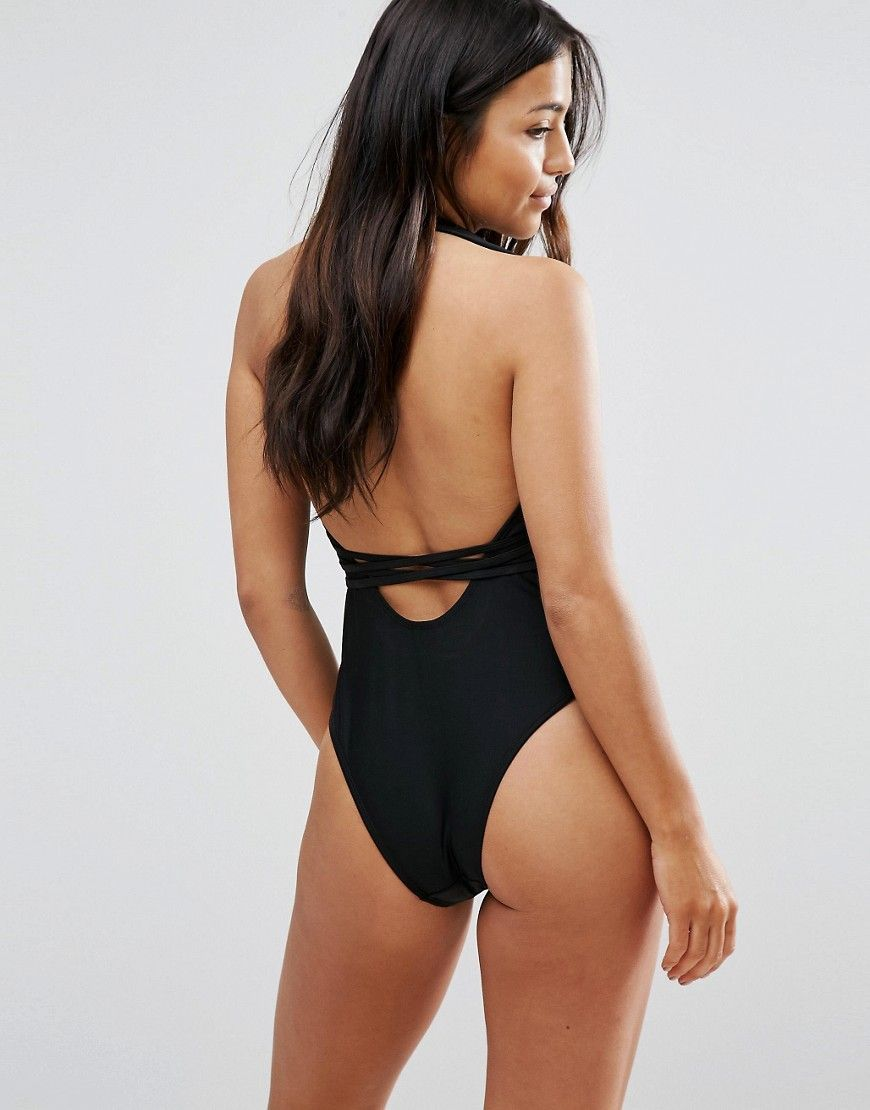 cfa8a73cf7566 Wolf   Whistle Deep Plunge Swimsuit With Cross Straps B-F Cup - Black