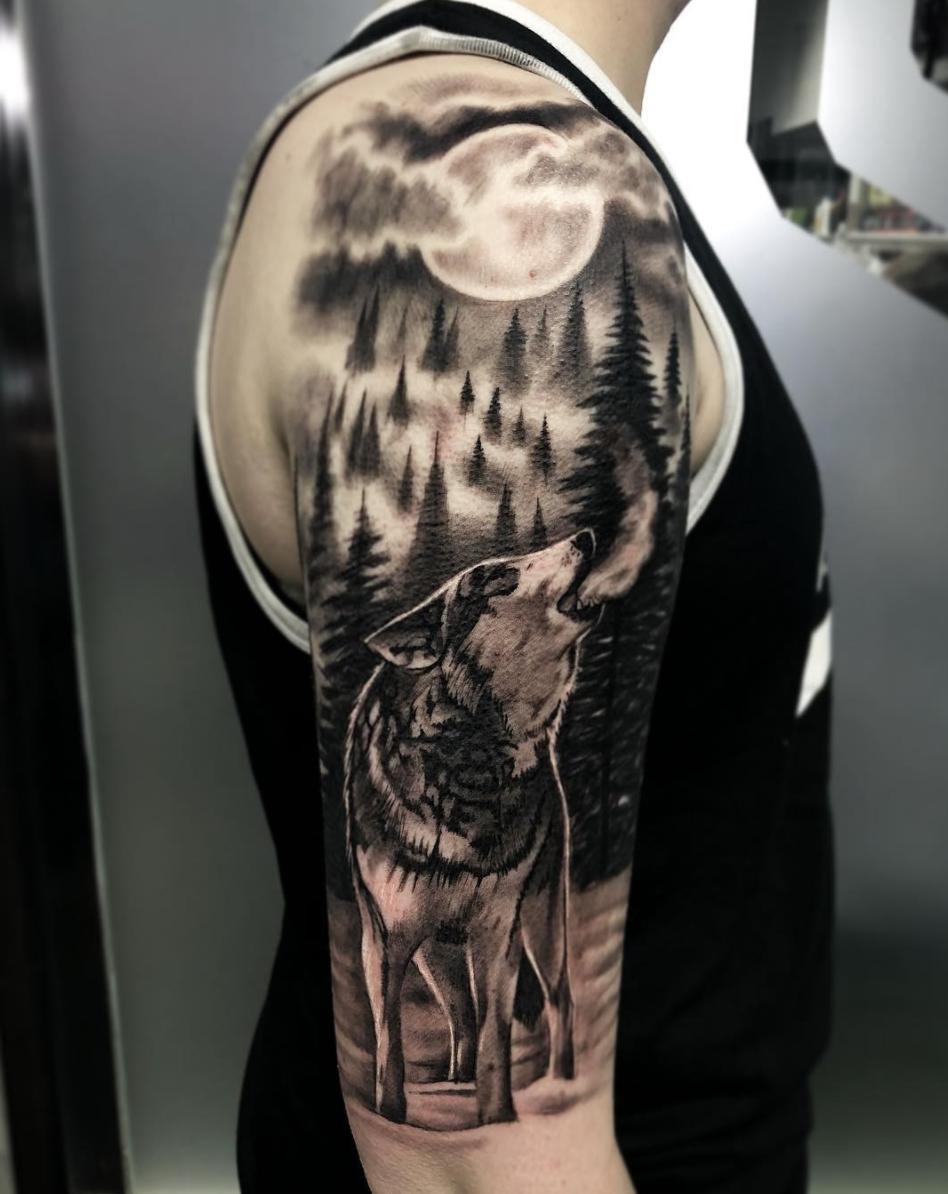 Pin By Aykut Veizow On Wolf Wolf Tattoos Wolf Tattoo Sleeve Wolf And Moon Tattoo