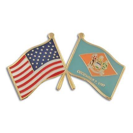 Delaware And Usa Crossed Flag Pin Flag Lapel Pins Pinmart Flag Lapel Pins Flag Pins Lapel Pins