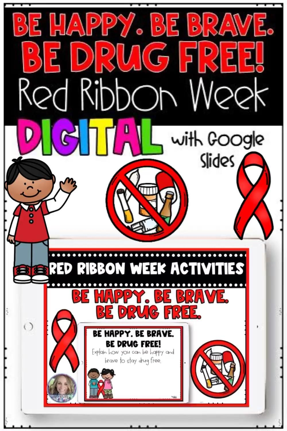 Red Ribbon Week 2020 Be Happy Be Brave Be Drug Free Digital Distance Learning Video Video In 2020 Red Ribbon Week Distance Learning Making Words [ 1500 x 1000 Pixel ]