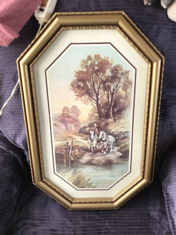 Vintage Home Interior Homco Gold Frame Picture Farm Horse Team Country Scenery Ebay Vintage House Horse Farms House Interior