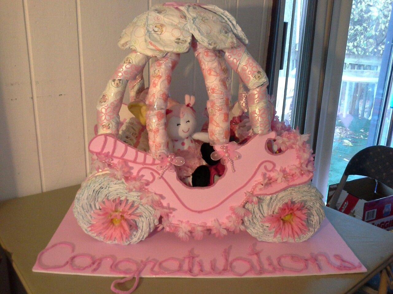 Baby Princess Carriage Diaper Cake