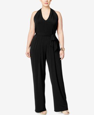 MICHAEL KORS Michael Michael Kors Plus Size Belted Halter Jumpsuit. #michaelkors #cloth # jumpsuits
