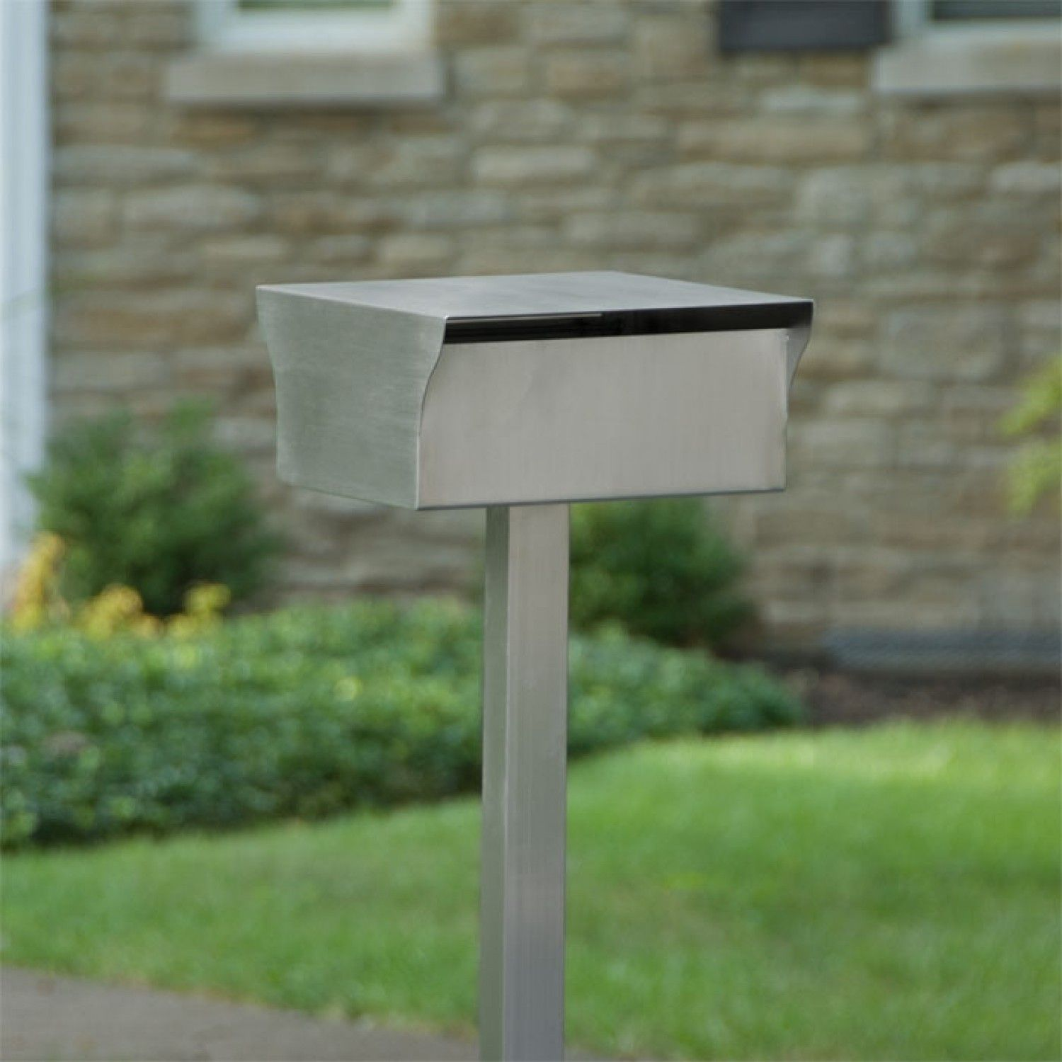Bremerton Stainless Steel Mailbox And Post Set Brushed Stainless