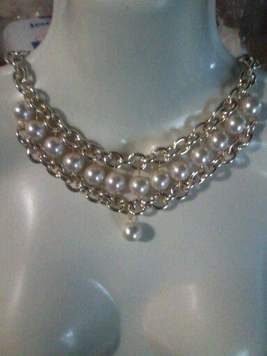 818abbdf9fe3 Colllar de cadena y perlas