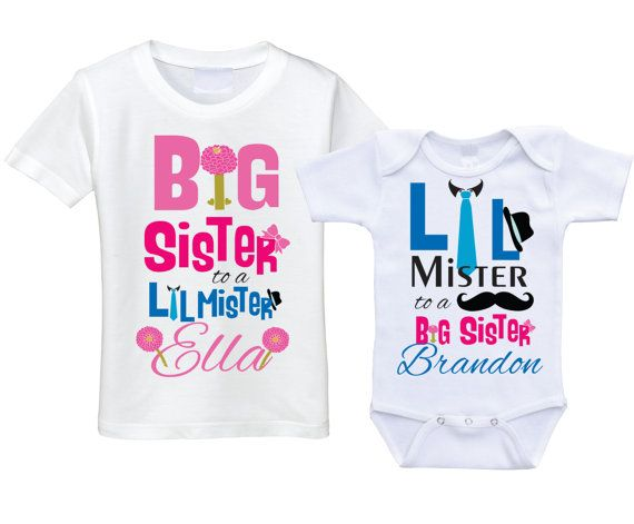 c2268fc42ad1 Personalized Big sister Little brother shirts matching sibling shirts big  sis lil bro sibling shirt