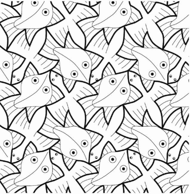 Escher -Vis en vogel | School - Tekenen: patronen | Pinterest ...