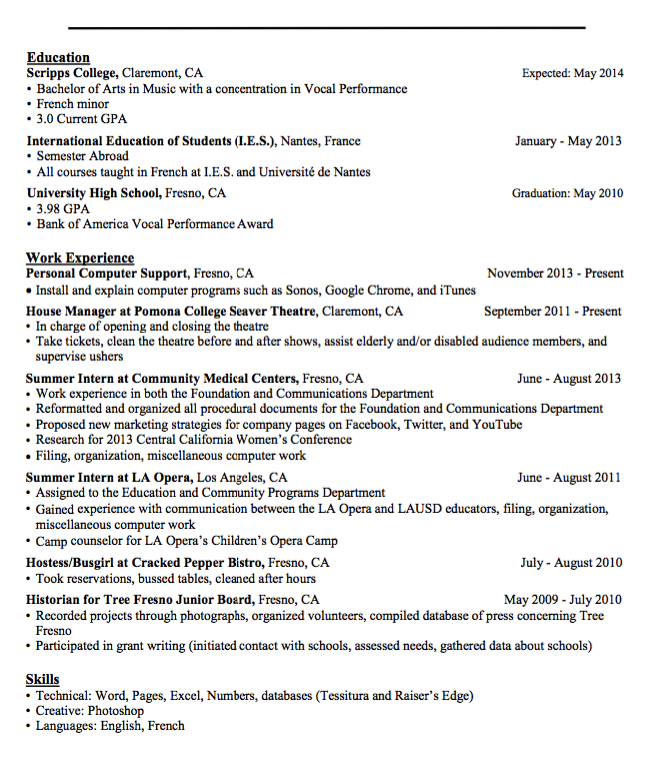 Sample HostessBusgirl Resume  HttpExampleresumecvOrgSample