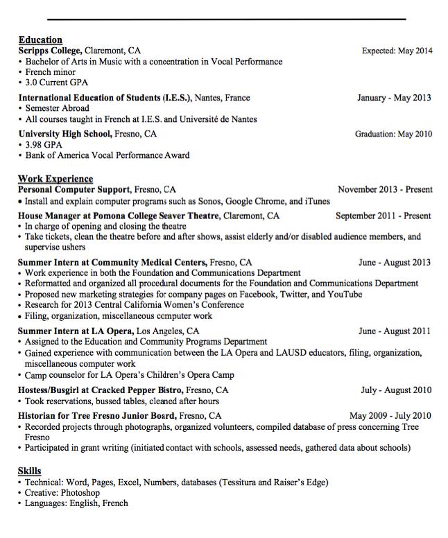 Sample Hostess Busgirl Resume Examples Resume Cv Resume Examples Resume University High School