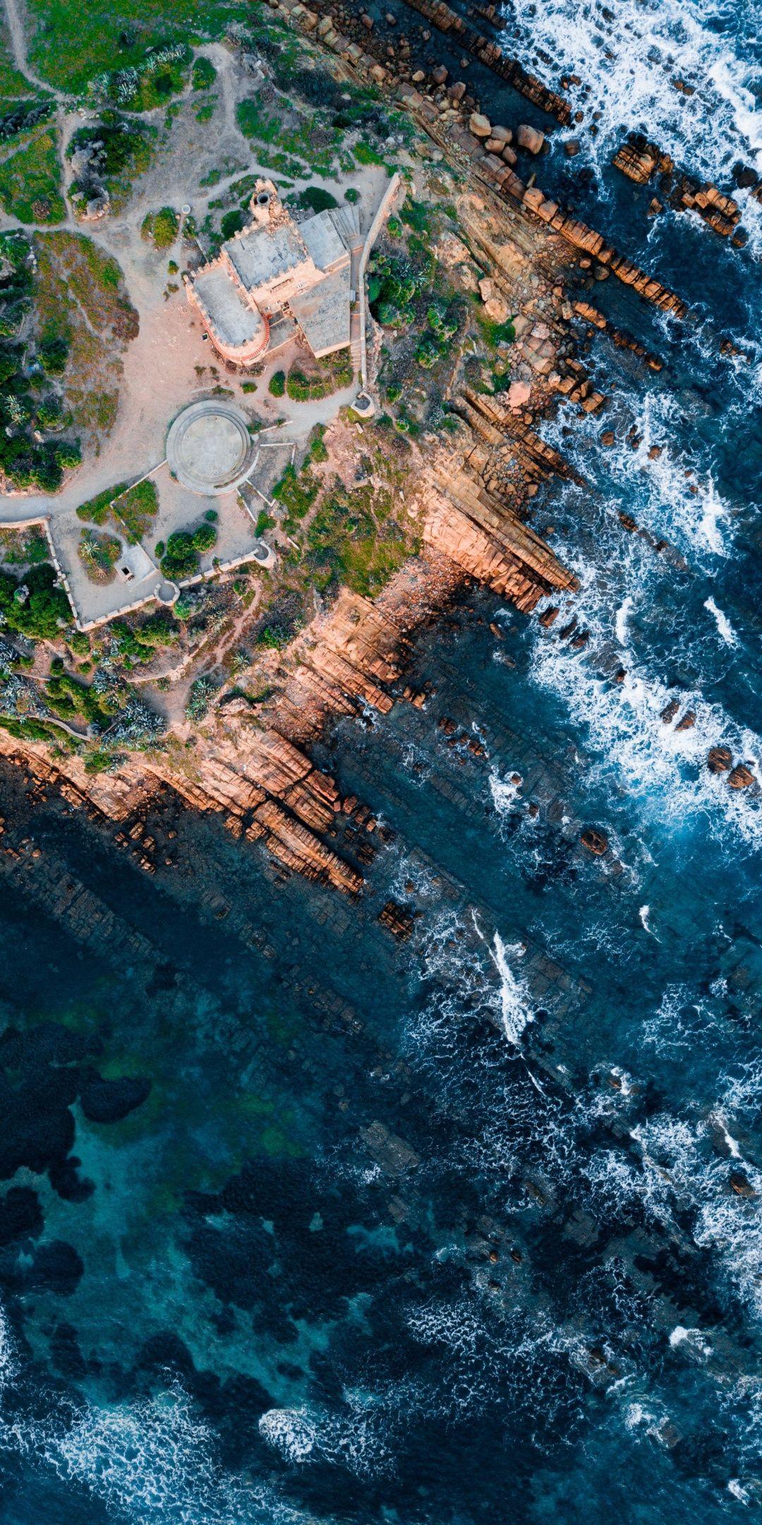 Aerial Shot Rocks Coast 1080x2160 Wallpaper Aerial Shot Aerial Photography Aerial