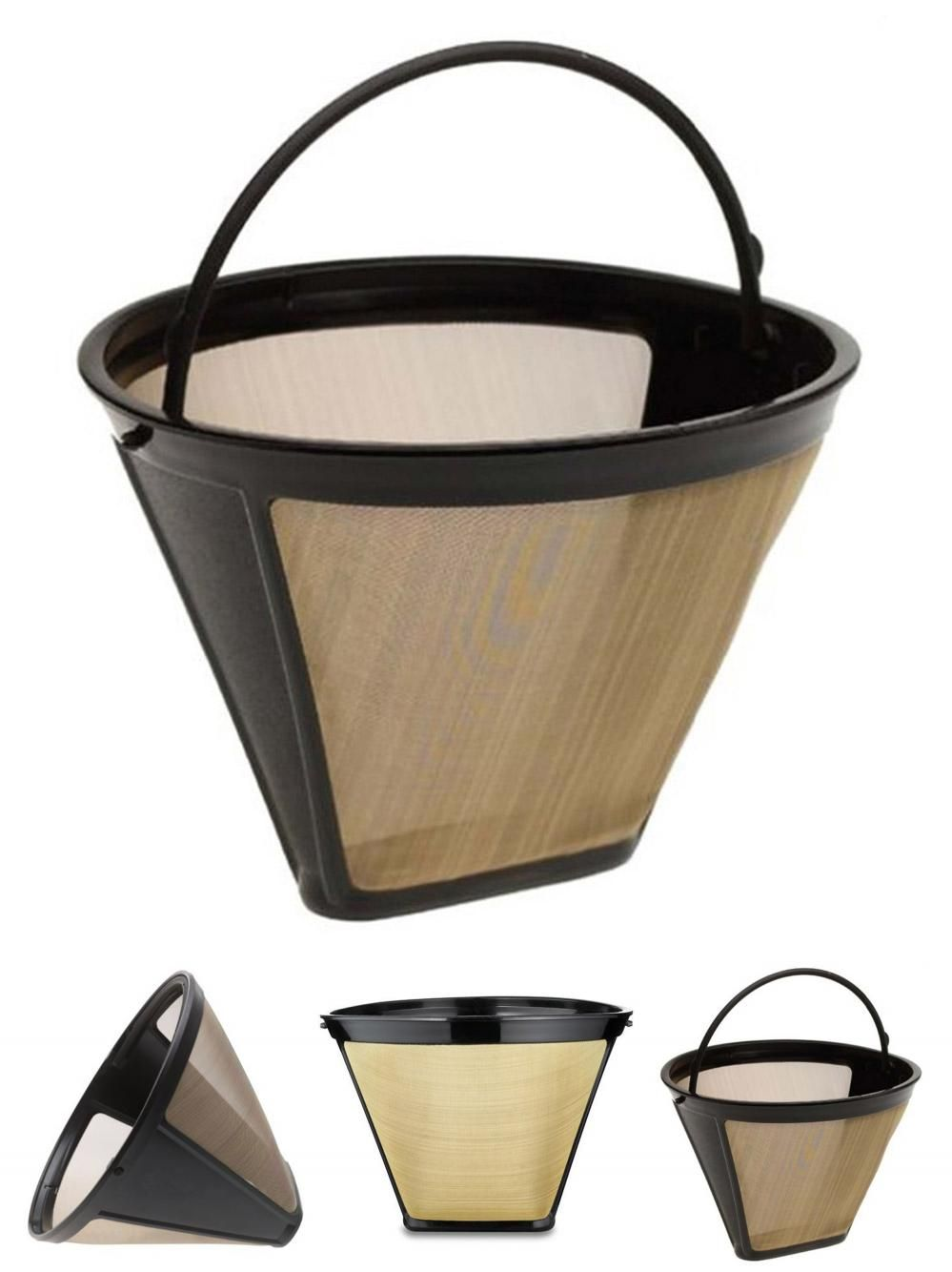Visit To Buy New Reusable Coffee Filter 10 12 Cup Permanent Cone Style Coffee Maker Machine Filter Gold Mesh With Handle Caf Reusable Coffee Filter Coffee Maker Machine Coffee Filters