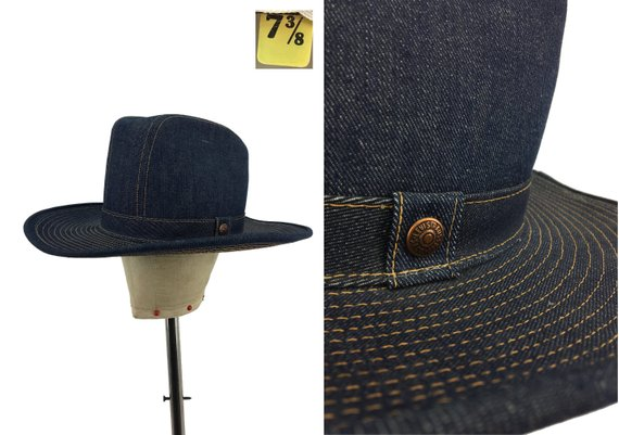 a036b3c774e5aa Vintage 70s LEVIS Denim Cowboy Hat Fitted 7 3/8 - 1970s - Orange Tab -  Country - Western - Levis Hat