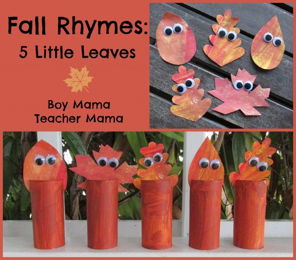 Boy Mama Fall Rhymes 5 Little Leaves