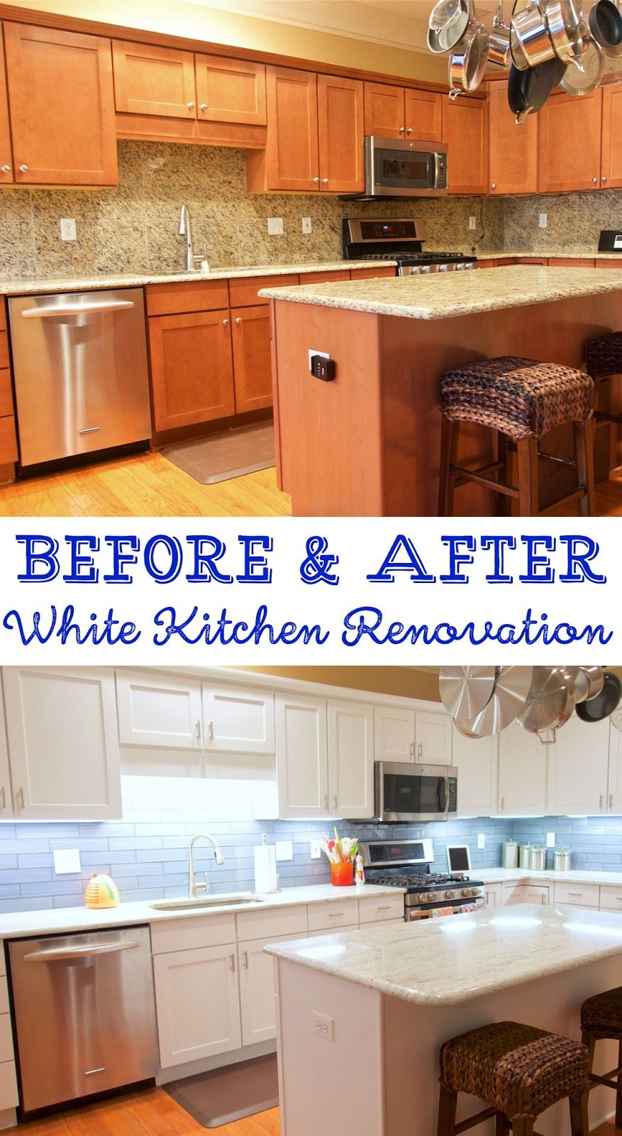 Before And After White Kitchen Renovation Painted Cabinets River White Granite Datile Encha White Kitchen Renovation Kitchen Renovation Diy Kitchen Remodel