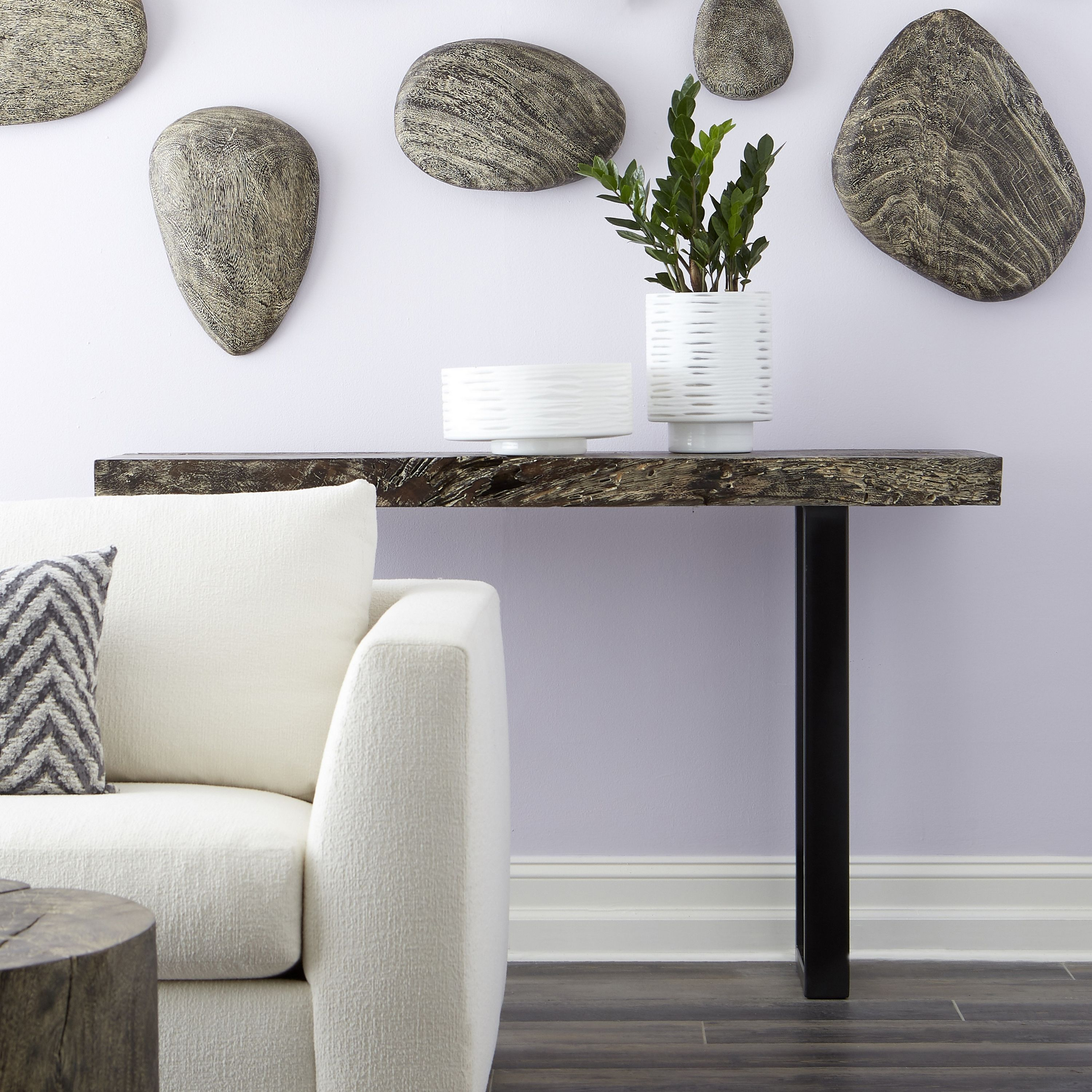 Our grey stone console table with black metal legs