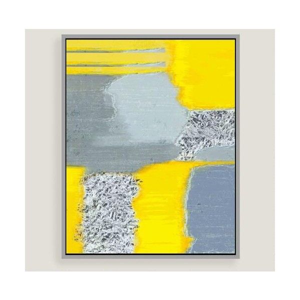 Cost Plus World Market Gray and Yellow Abstract Canvas Wall Art with ...