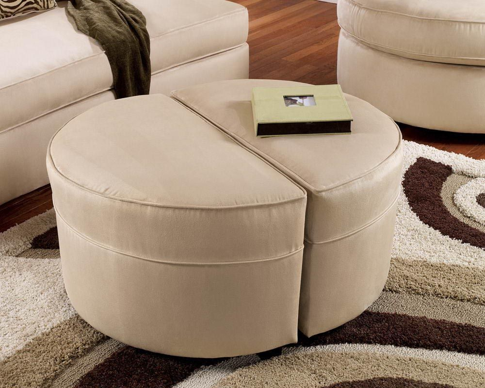 Coffee table with ottoman seating round ottoman small